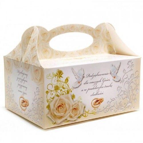 Pudełko na ciasto weselne Róże i Florystyczny Ornament z obrączkami