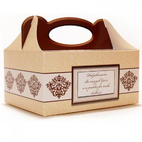 Pudełko na ciasto weselne Brązowy Ornament