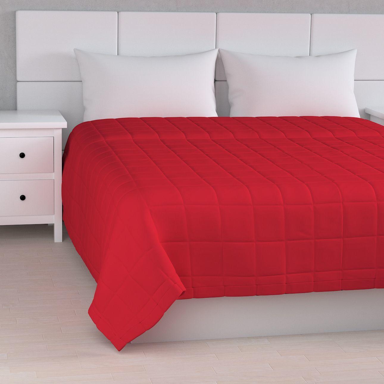 Narzuta pikowana w kratę, Scarlet Red (czerwony), szer.170  dł.210 cm, Cotton Panama