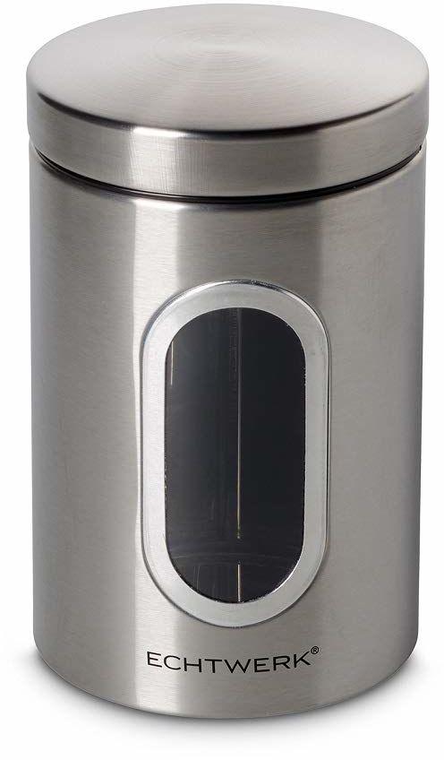 Echtwerk Stylowe pojemniki na zapasy Single Brushed, do przechowywania mąki/cukru/musli / herbaty, metalowa puszka z hermetyczną pokrywką i dużym okienkiem, pojemność 1,4 l