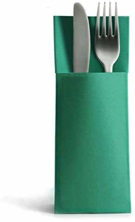 Alvotex Airlaid 50 serwetek na sztućce, torby na sztućce, podobne, wysokiej jakości serwetki jednorazowe, zielone, 32 x 40 cm