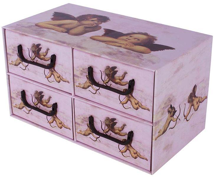 Pudełko kartonowe 4 szuflady poziome ANIOŁKI RÓŻOWE