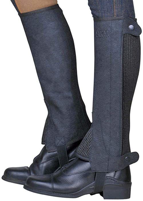 HKM Dorośli 6523 jeździeckie teczki Economic, czaps Minichaps Chaps dzieci 4-12 spodnie XS-XL, 9100 czarne, L-36