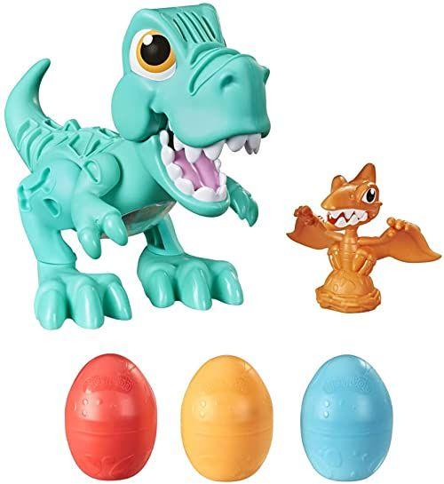 Play-Doh Dino Crew frezarka tyranozaur, zabawka dla dzieci od 3 lat z kulkami dinozaura i 3 jajkami Play-Doh