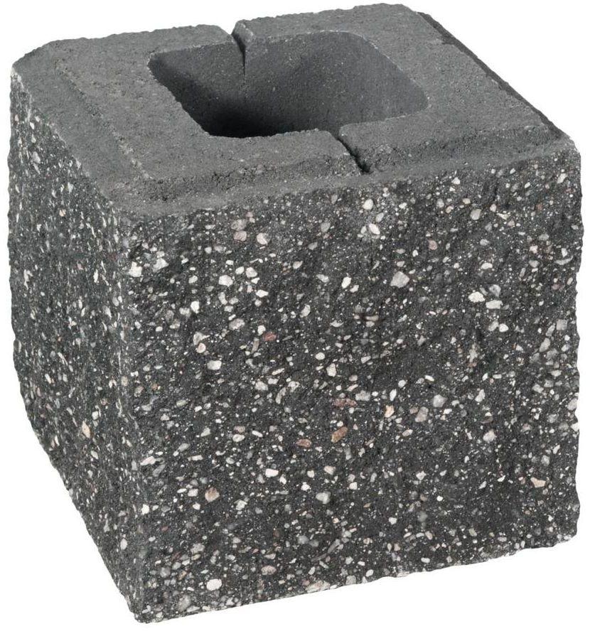 Pustak ścienno-cokołowy pół 20 x 19.5 x 19 cm betonowy trzystronnie łupany SKAŁA LUBUSKA ZIEL-BRUK