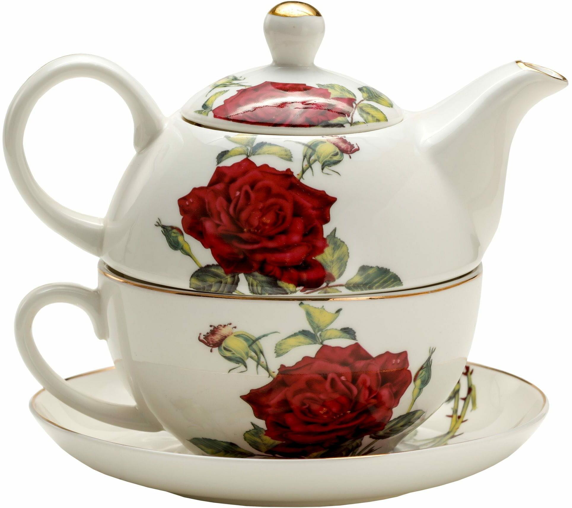 P4Y, filiżanka z czajniczkiem Tea for one ROSES, róże