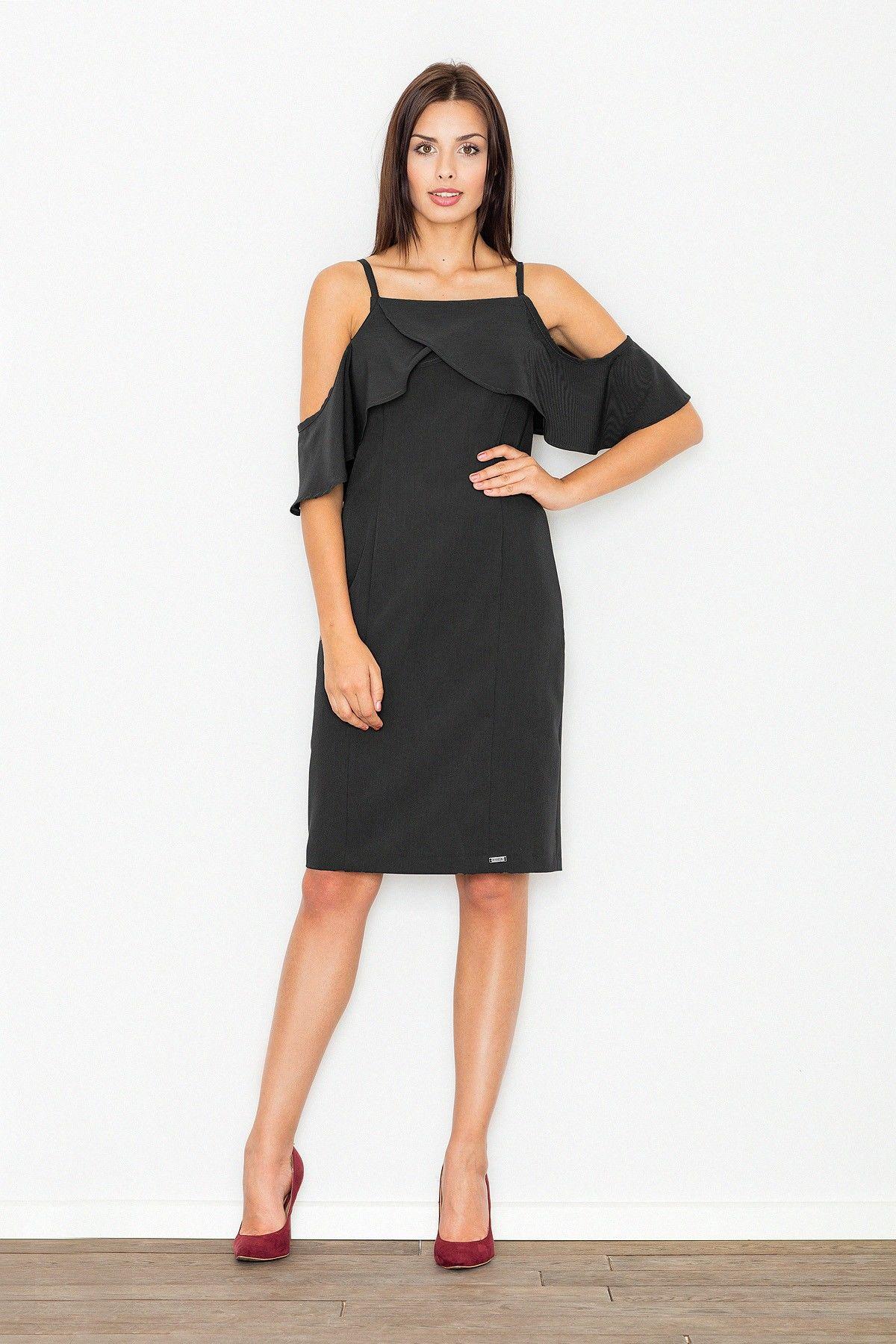 Elegancka czarna sukienka midi z falbanką przy dekolcie