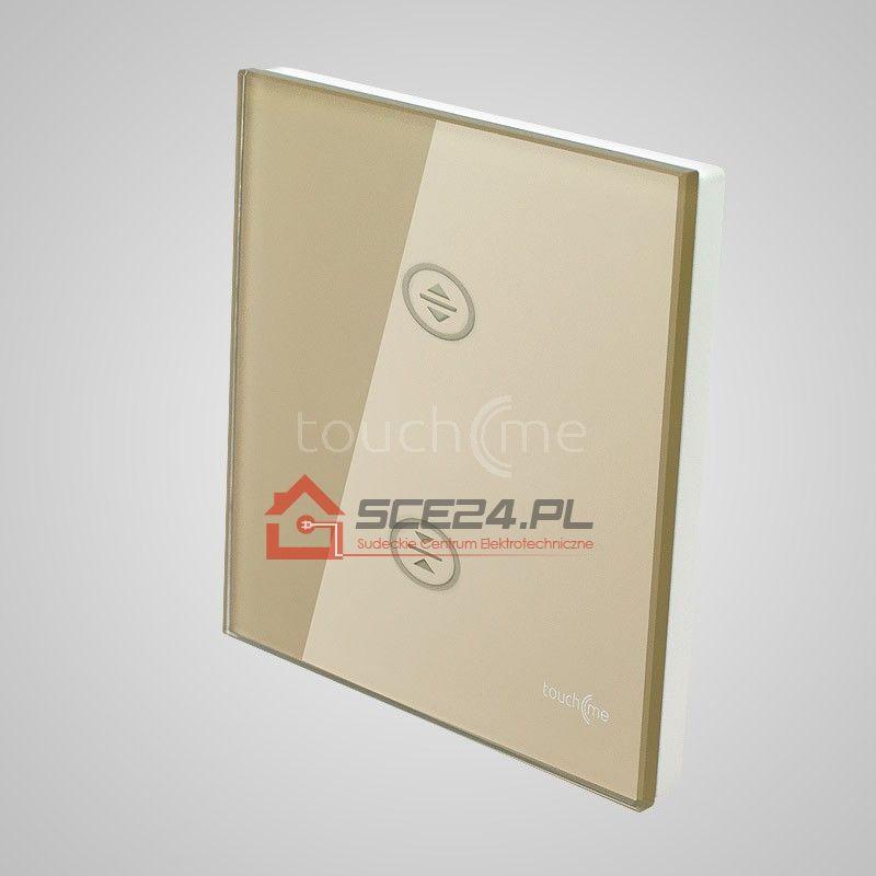 Duży panel dotykowy 86x86mm szklany, żaluzjowy, złoty