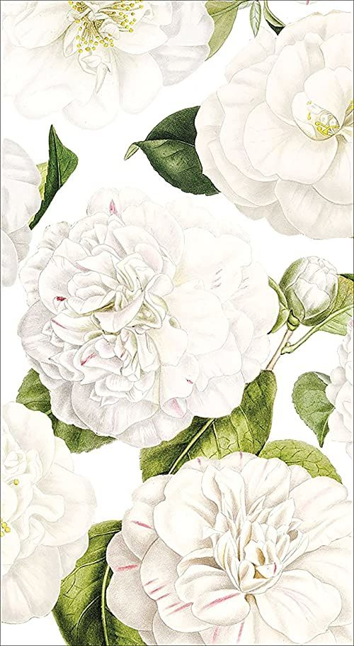Entertaining with Caspari Camellia Garden Papierowe ręczniki dla gości, kość słoniowa, 11 x 20 x 3 cm