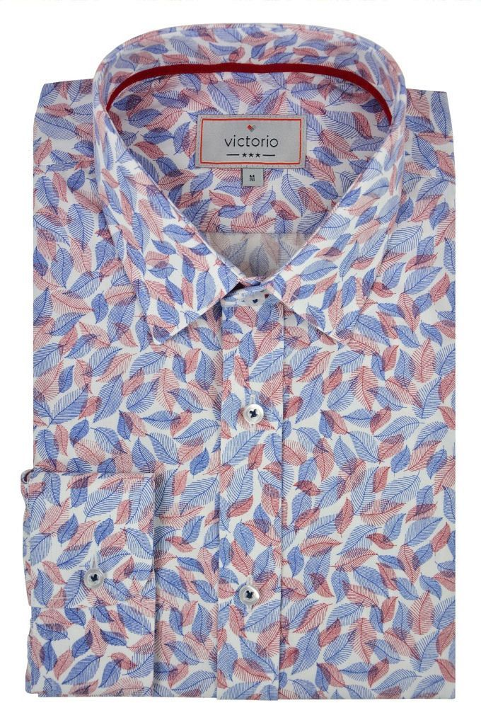 Wzorzysta Bawełniana Koszula w Kolorowe Listki z Długim Rękawem -VICTORIO- Geometryczny Wzór KSDWVCTO0406