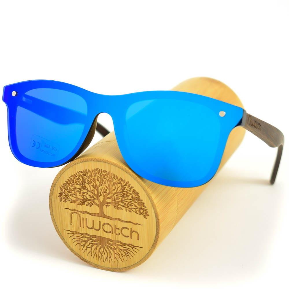 Drewniane okulary przeciwsłoneczne Niwatch Orion Blue Mirror