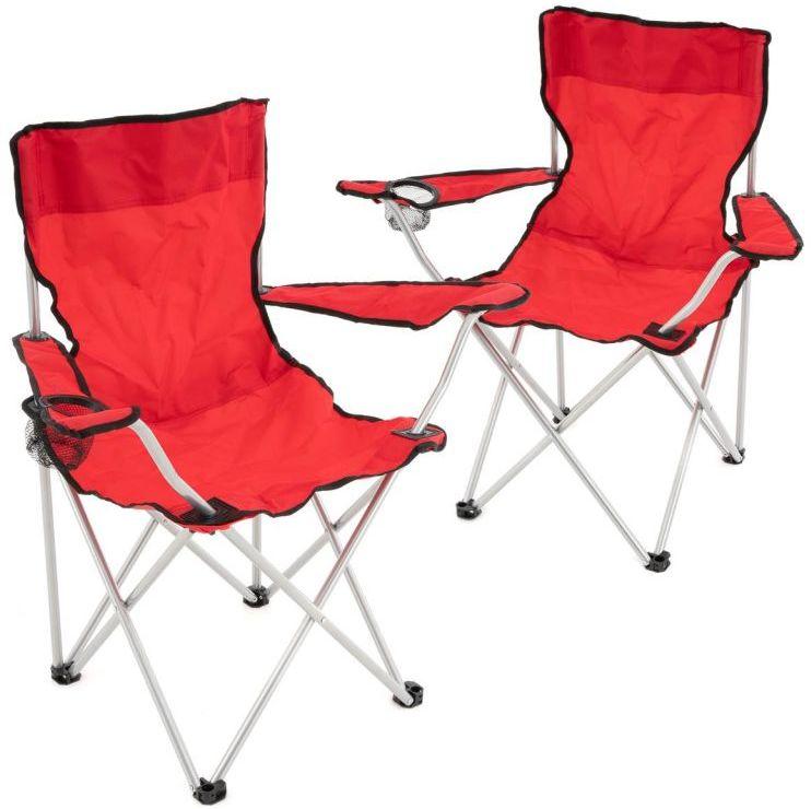 Zestaw czerwonych składanych krzeseł kempingowych z uchwytem