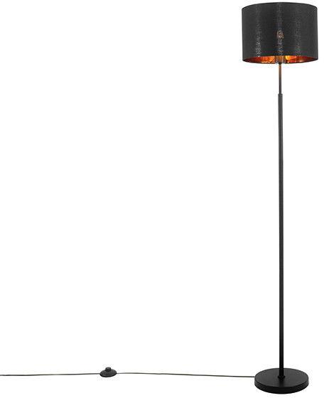QAZQA Nowoczesna lampa podłogowa czarna ze złotem - VT 1