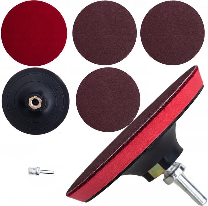 Dysk elastyczny z rzepem na szlifierkę, wiertarkę, M14, Ø 125 mm, 3x papier ścierny, adapter