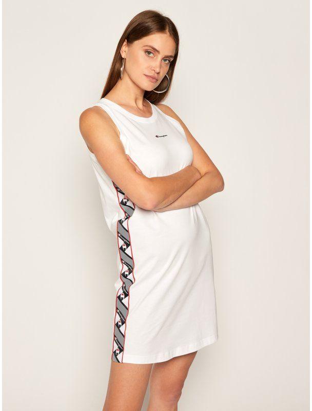 Champion Sukienka codzienna Jacquard 112769 Biały Regular Fit