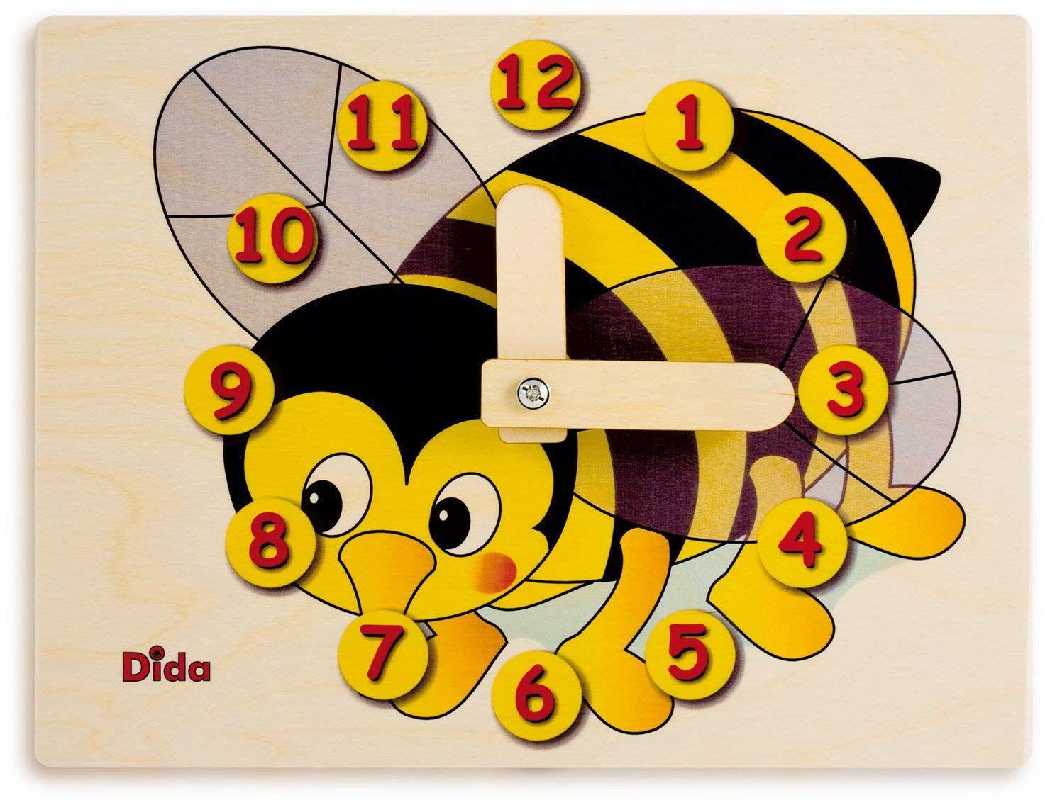 Dida - Zegarek do nauki dla dzieci - pszczoła - zabawny zegar do nauki dzieci, z drewna do przedszkola, szkoły i domu