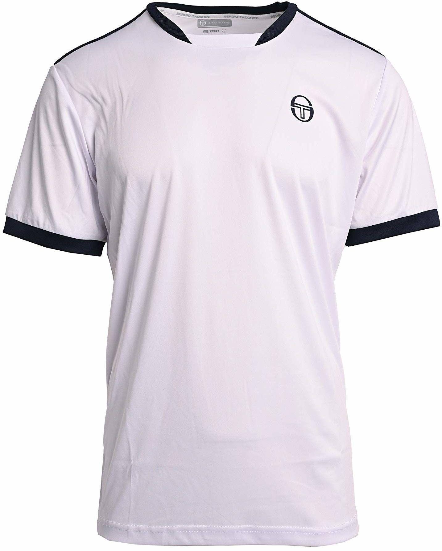 Sergio Tacchini Męski Club Tech T-Shirt, biały/granatowy, S