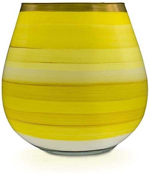 Angela Neue Wiener Werkstätte Wazon/świecznik VESUVIO, Lemon Sherbet szklany wazon pomalowany, pozłacany, szkło, żółty, średni rozmiar