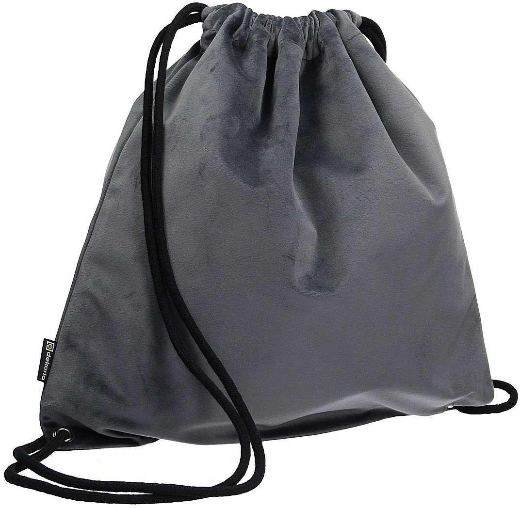 Plecak- worek Velvet, grafitowy szary, 40 x 43 cm, Velvet
