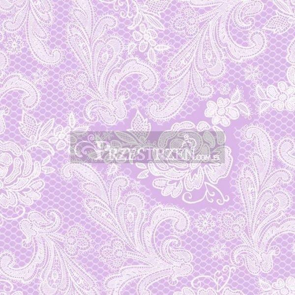 SERWETKI PAPIEROWE - Lace Royal Pastel Lilac White - Koronka lila-biała (wytłaczane)