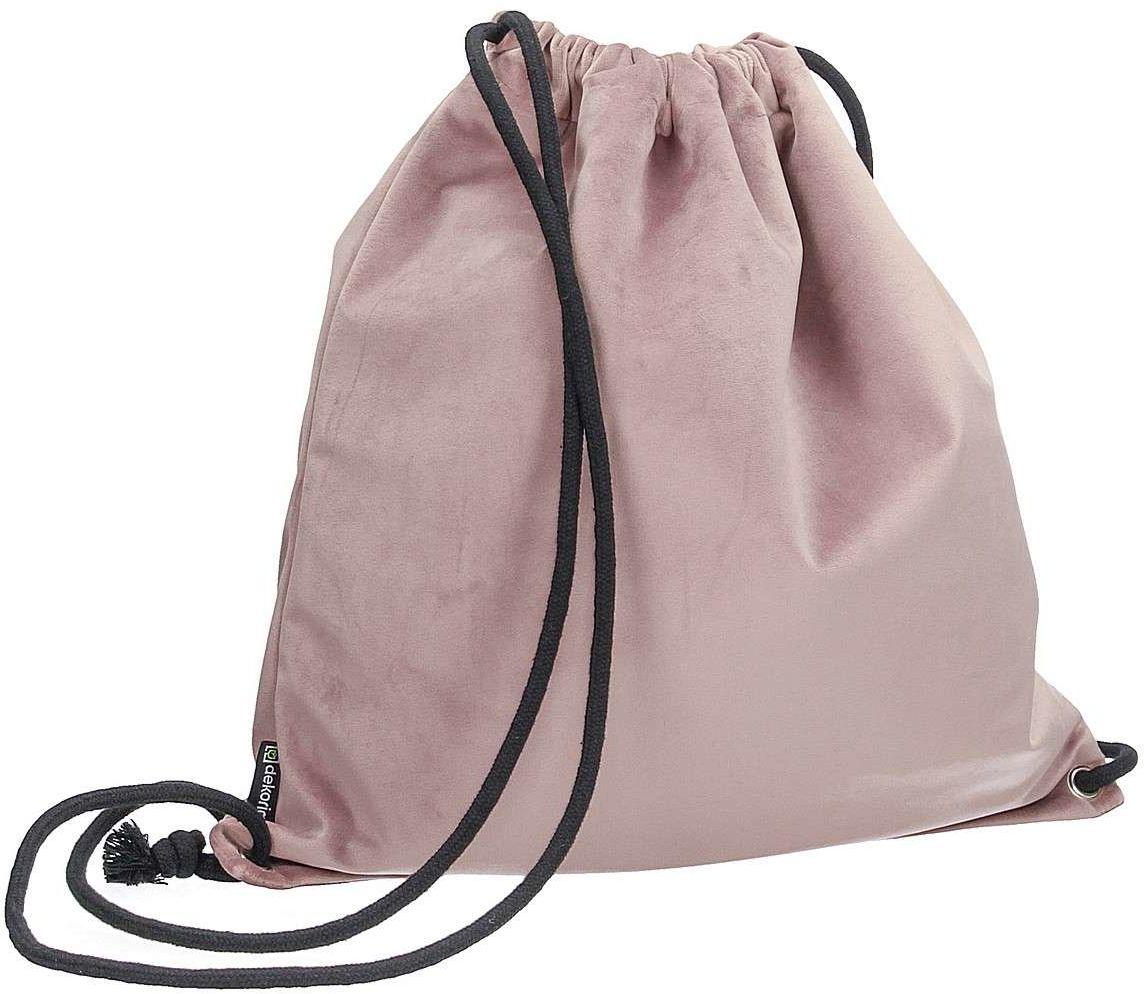 Plecak- worek Velvet, zgaszony róż, 40 x 43 cm, Velvet