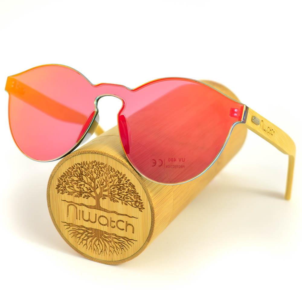 Drewniane okulary przeciwsłoneczne Niwatch Cassiopeia Orange Mirror