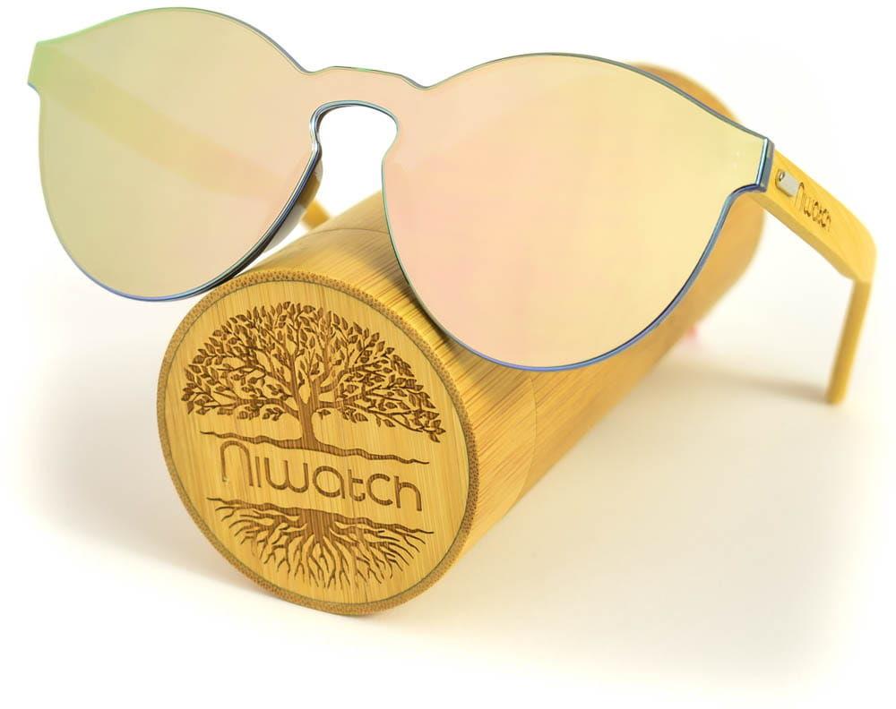 Drewniane okulary przeciwsłoneczne Niwatch Cassiopeia Light Silver Mirror