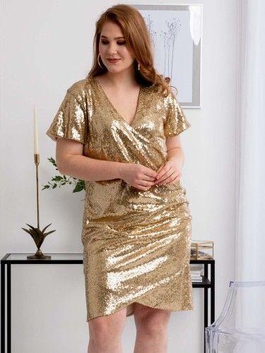 Sukienka na karnawał cekinowa kopertowa ołówkowa GLORIA drapowanie talii złota