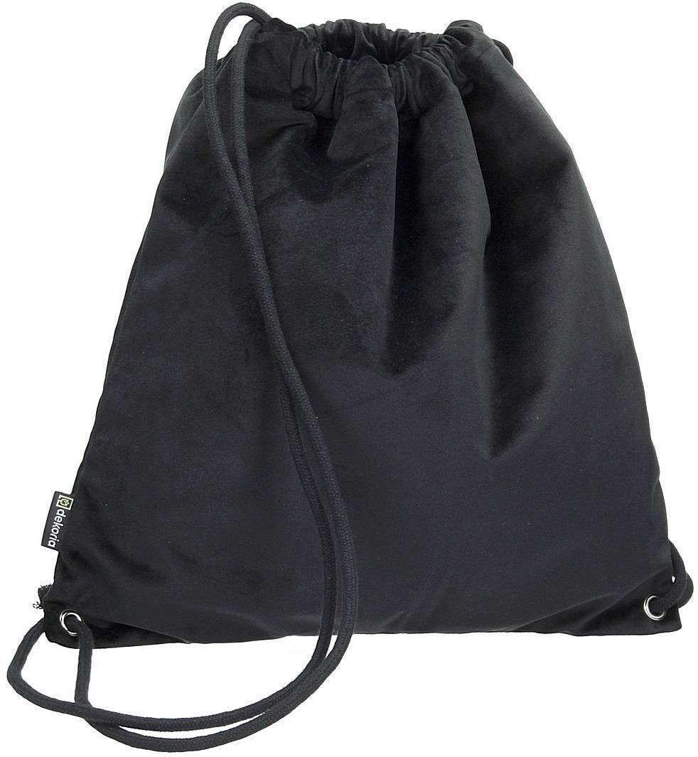 Plecak- worek Velvet, głęboka czerń, 40 x 43 cm, Velvet