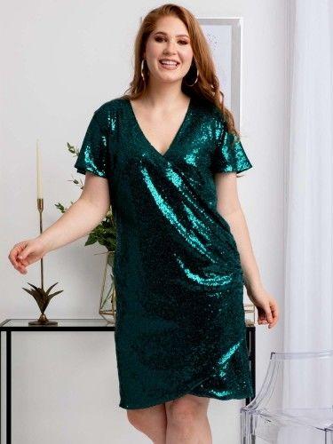Sukienka cekinowa kopertowa ołówkowa GLORIA drapowanie talii butelkowa zieleń