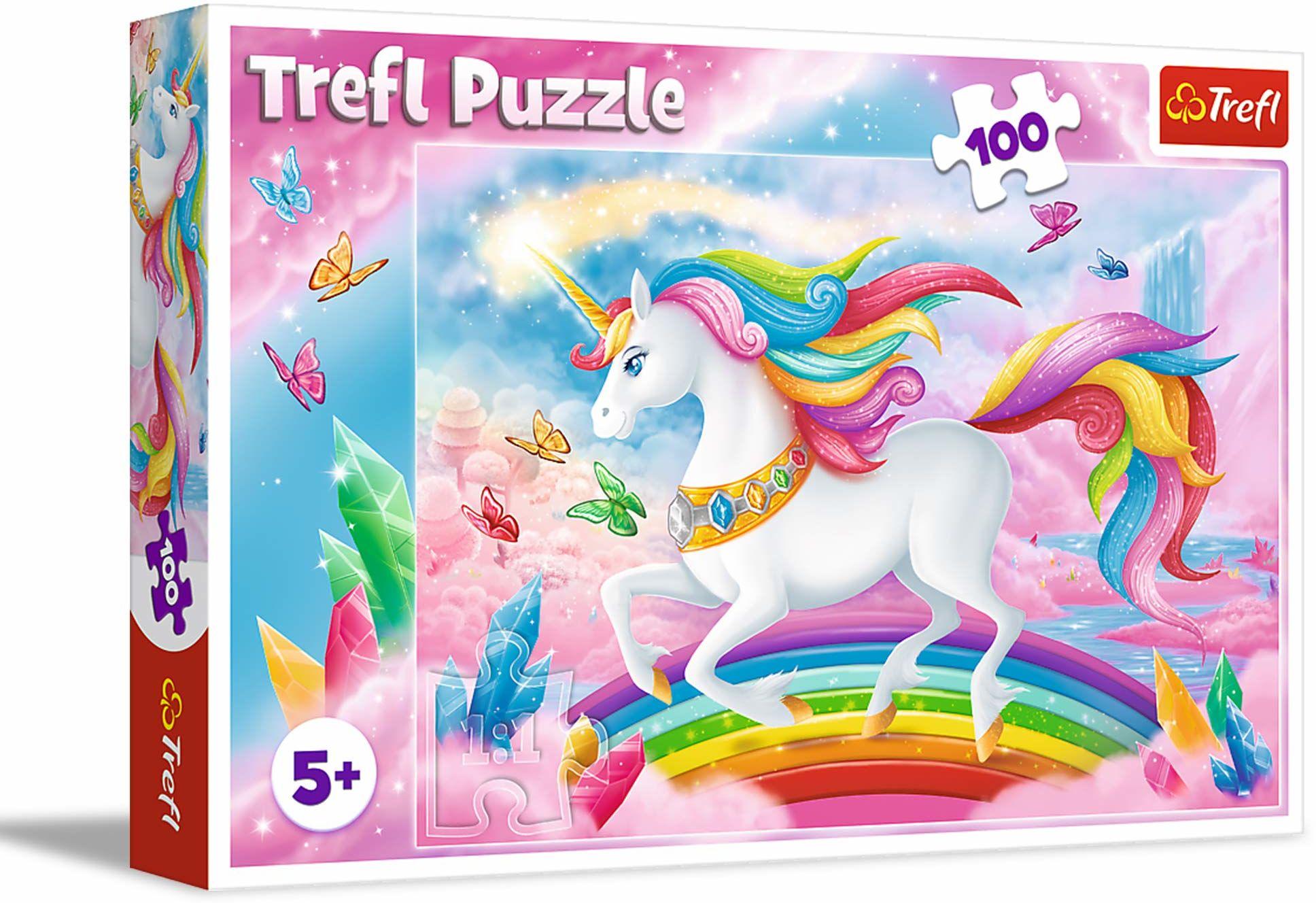 Trefl W Kryształowym Świecie Jednorożców Puzzle 100 Elementów o Wysokiej Jakości Nadruku dla Dzieci od 5 lat