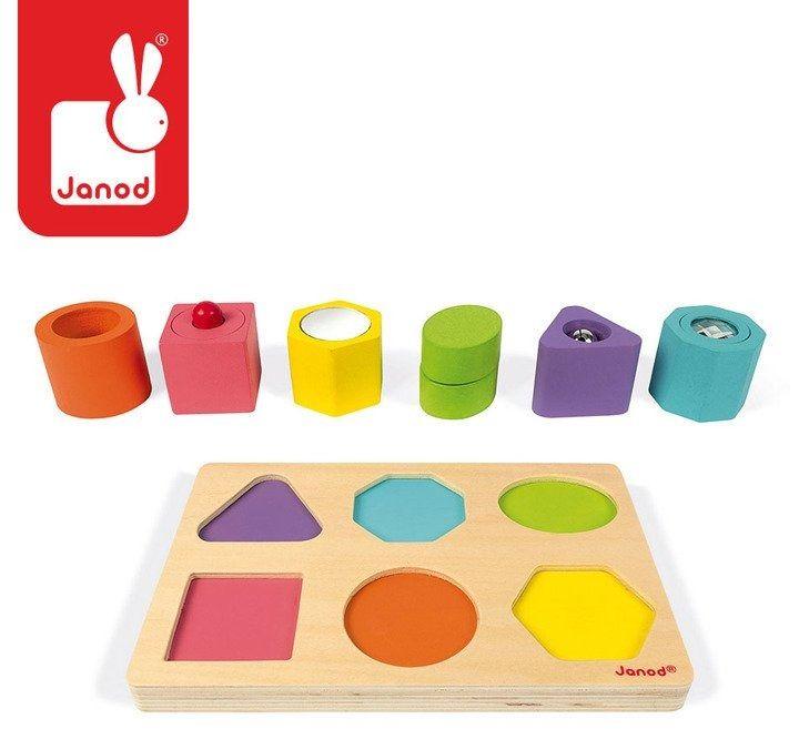 """Puzzle sensoryczne drewniane """"kształty i dźwięki"""", janod"""