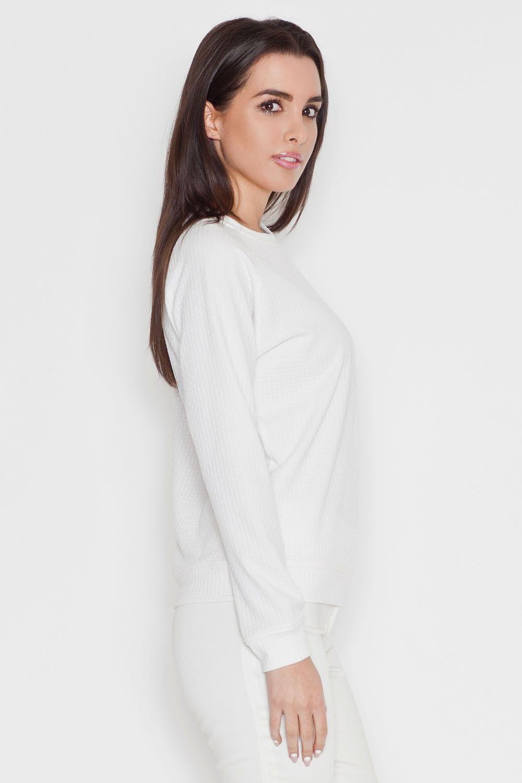 Ecru minimalistyczna bluzka z dyskretną fakturą z długim rękawem