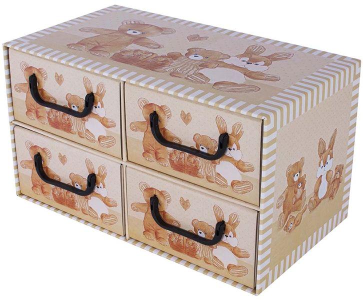 Pudełko kartonowe 4 szuflady poziome MISIE BEŻOWE