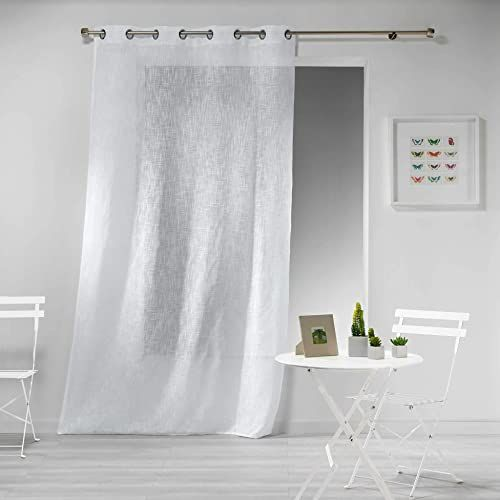 Zasłona z oczkami, 140 x 240 cm, wygląd lnu, biała