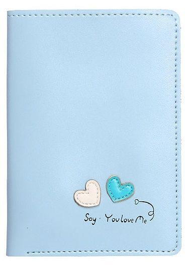 Cienki portfel damski niebieski Serca WK15