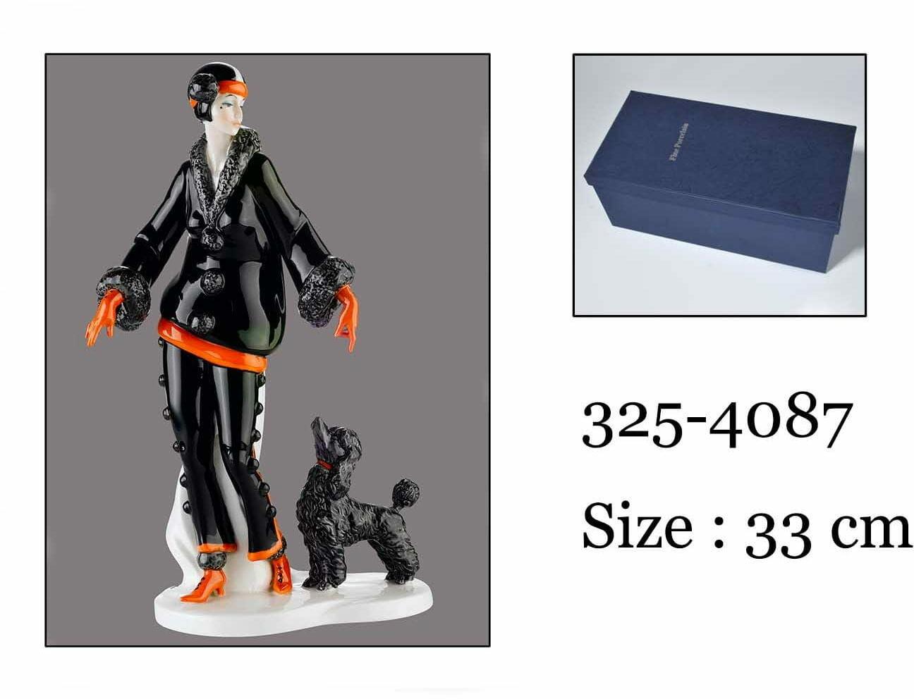 P4Y, figurka porcelanowa KOBIETA Z PSEM