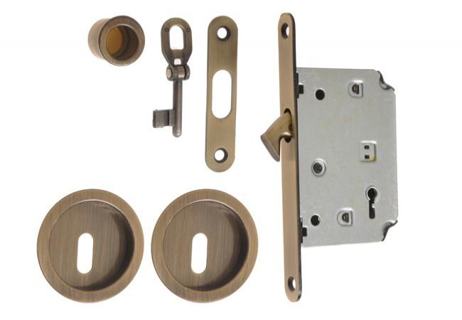 Zamek do drzwi przesuwnych z okuciami (KL) OG-patyna