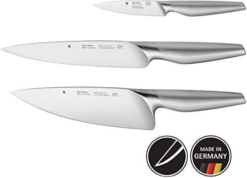 WMF Chef''s Edition 3-częściowy zestaw noży, Made in Germany, 3 kute noże, nóż kuchenny, Performance Cut, specjalna stal ostrza, drewniane pudełko