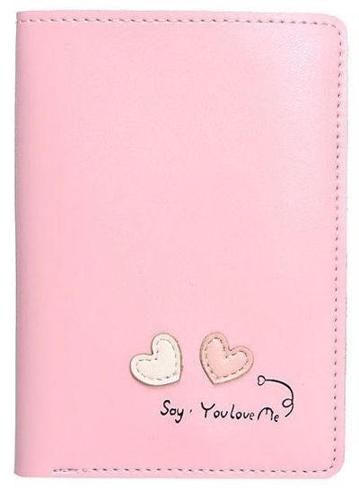 Cienki portfel damski pudrowy róż Serca WK15