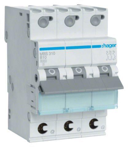 MCB Wyłącznik nadprądowy Icn=6000A 3P B 10A QuickConnect MBS310
