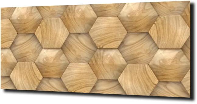 obraz na szkle Heksagon drewniany 125X50