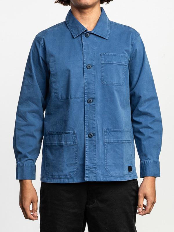 RVCA COULEUR CHORE COAT SURPLUS BLUE koszulka z długim rękawem męska - M