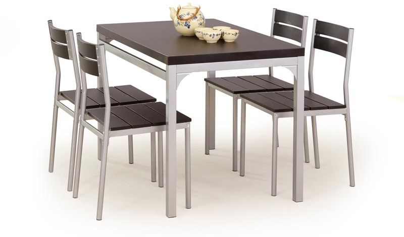 Zestaw stół + 4 krzesła PITER wenge