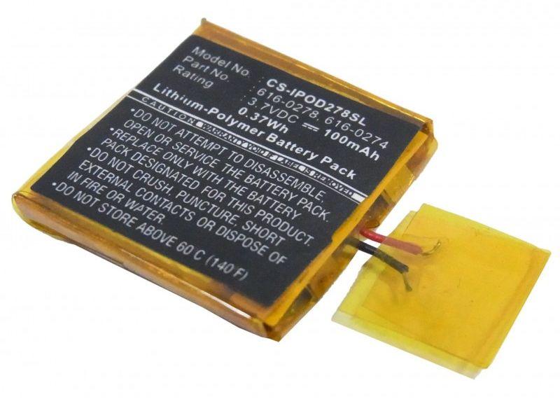 Apple iPOD Shuffle G2 1GB / 616-0278 100mAh 0.37Wh Li-Polymer 3.7V (Cameron Sino)