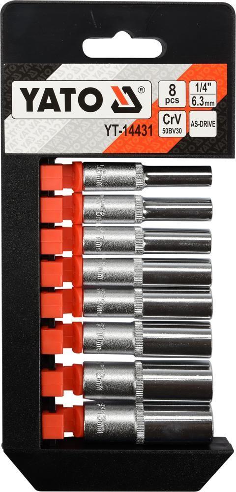 """YT-14431 Zestaw nasadek długich 1/4"""", 8 części"""