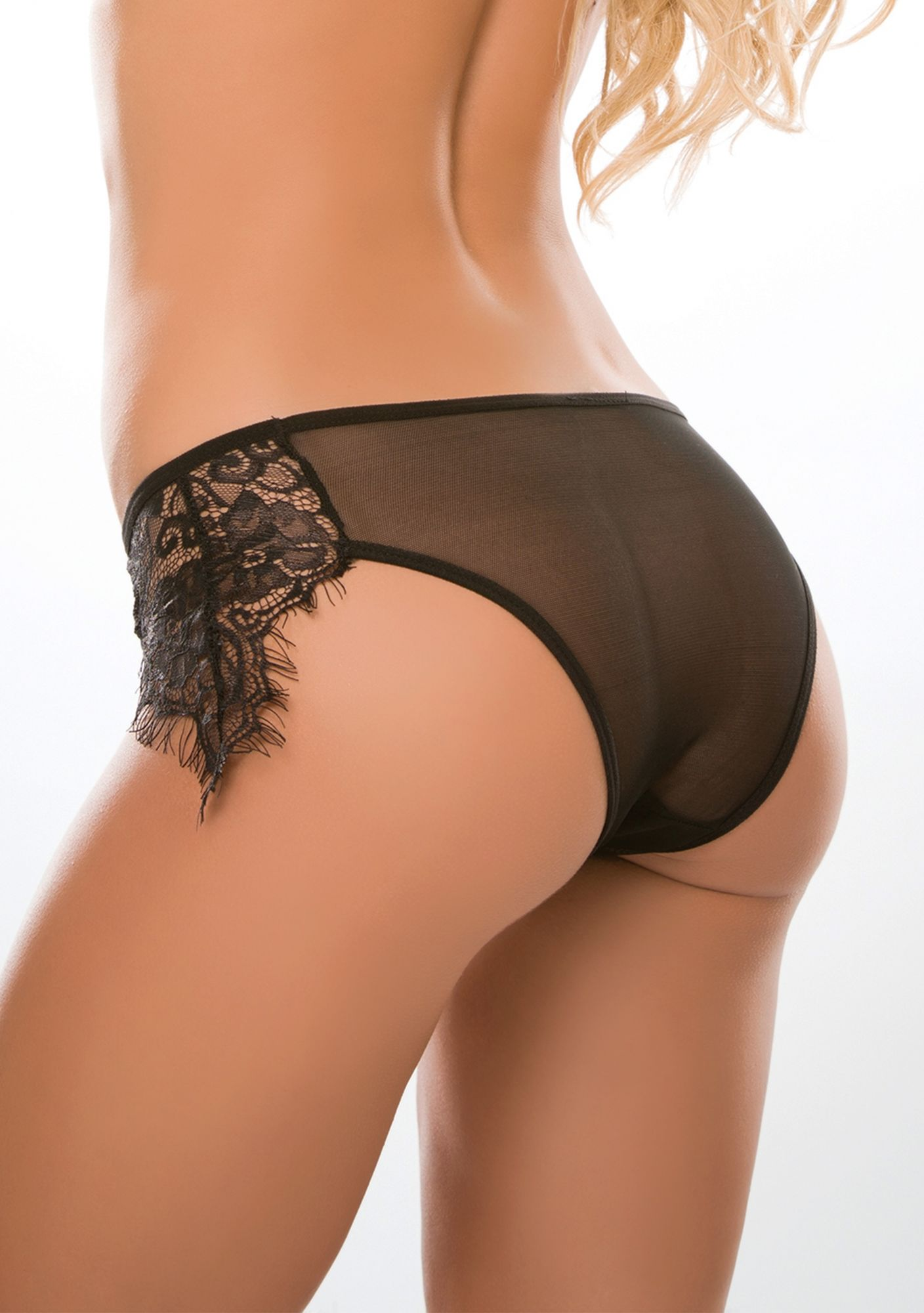Allure Crotchless Lavish & Lace Panty Black