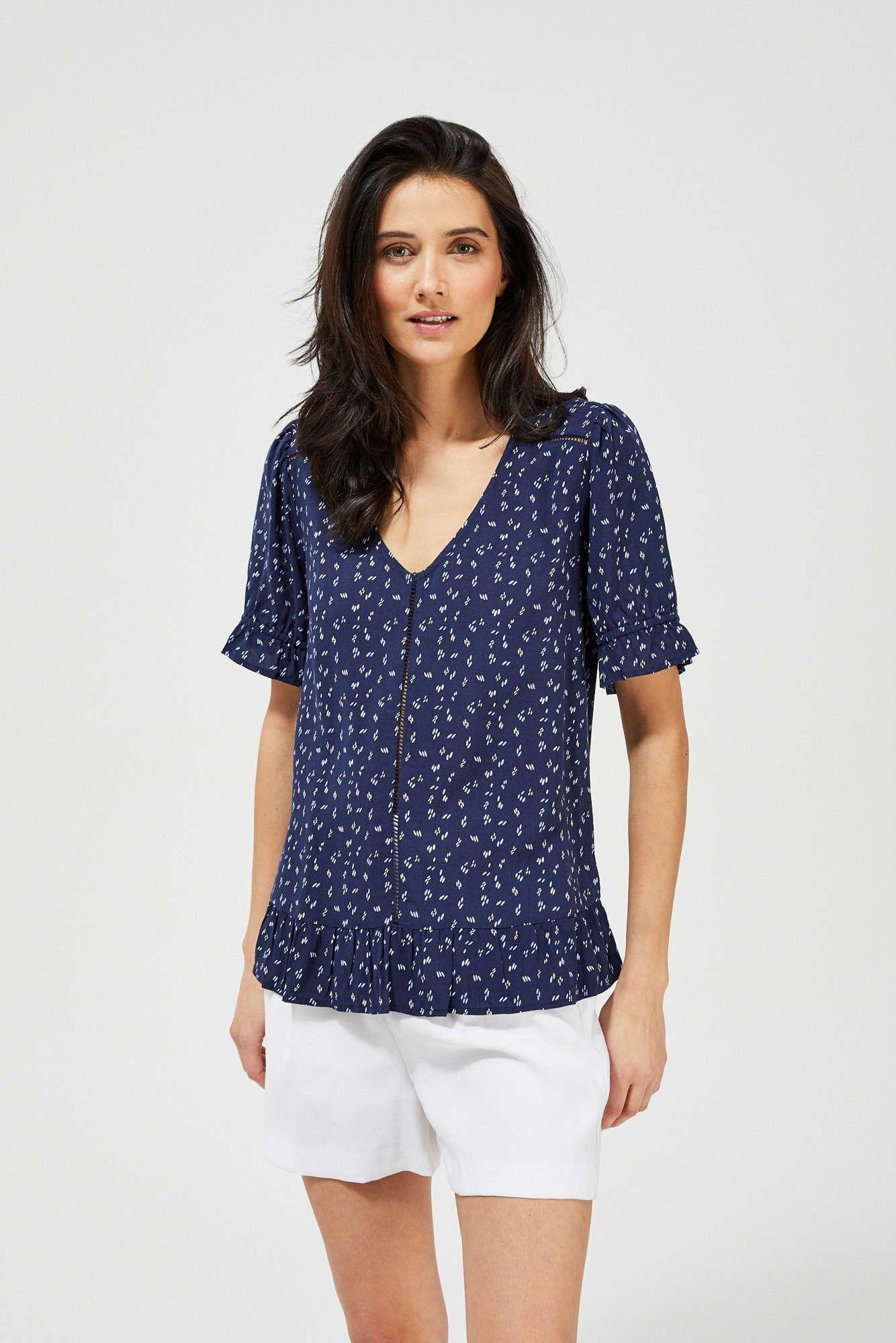 Bluzka koszulowa w drobny wzór