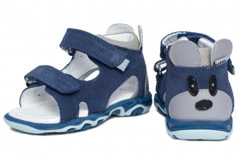 Bartek Baby 11144002 sandałki sandały dla dzieci - niebieskie z myszką na zapiętku