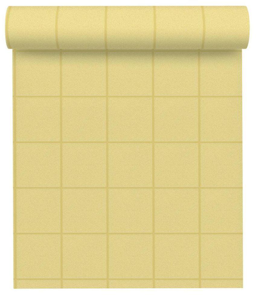 Tapeta w kratę Luxury żółta winylowa na flizelinie